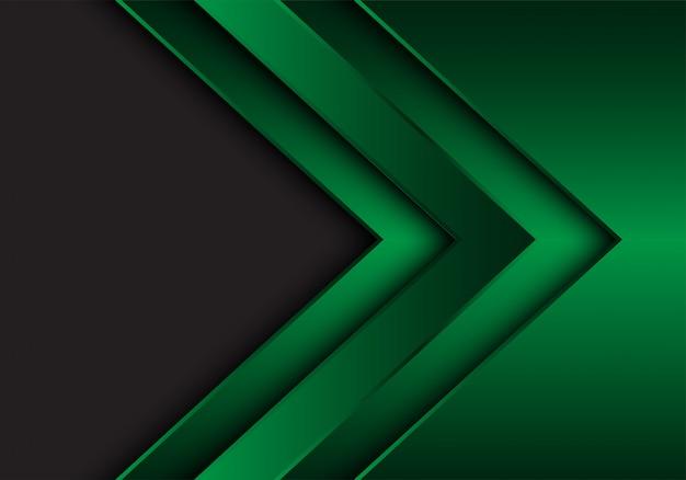 Green metallic arrow direction grey blank space background. Premium Vector