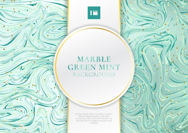 Green mint marble background with label Premium Vector
