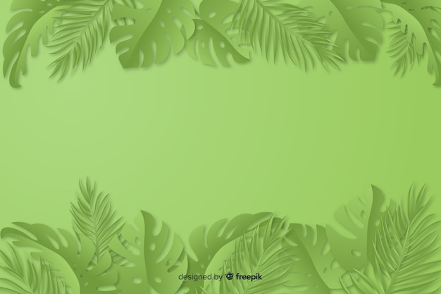 Green monochrome background with leaves Free Vector