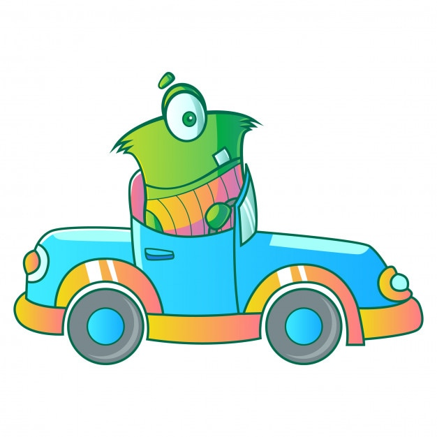 Green monster driving car illustration Premium Vector