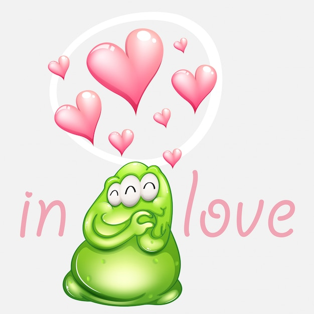 Green monster in love with pink hearts Free Vector