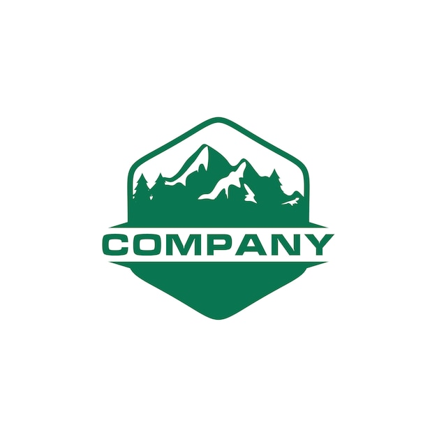Green mountain outdoor logo Premium Vector
