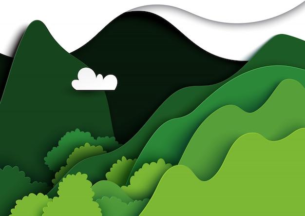 Green mountains nature landscape paper art. Premium Vector