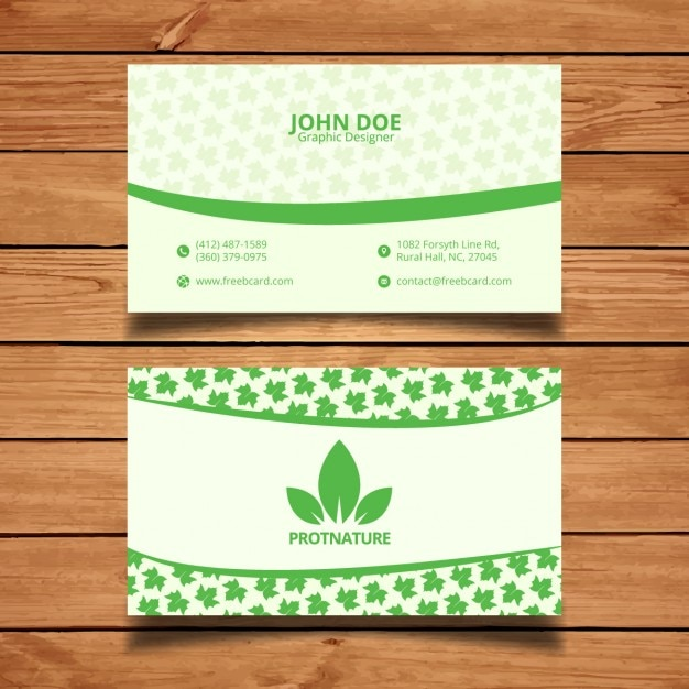 green natural business card vector free download