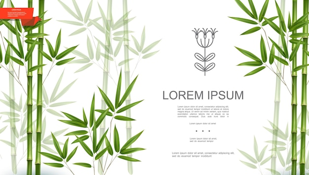 Green natural tropical plant background with bamboo stems and leaves in realistic style  illustration Free Vector