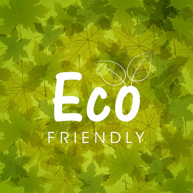 Green nature background with autumn leaves for\ Eco Friendly concept.