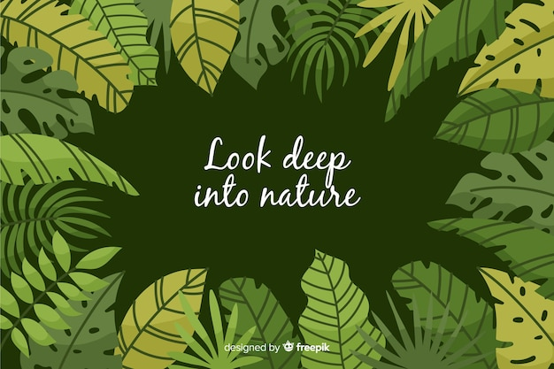 Green nature background with quote Vector | Free Download