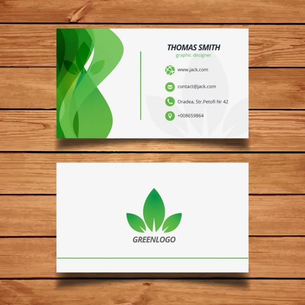 Green Nature Business Card Design Vector Free Download
