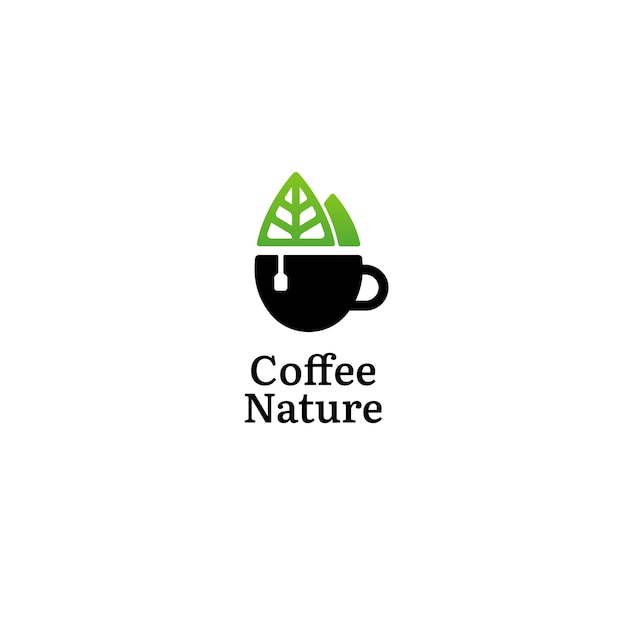 Green nature co coffee logo concept Premium Vector