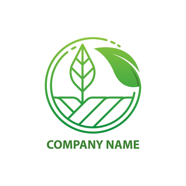 Green nature farm logo design template. Premium Vector