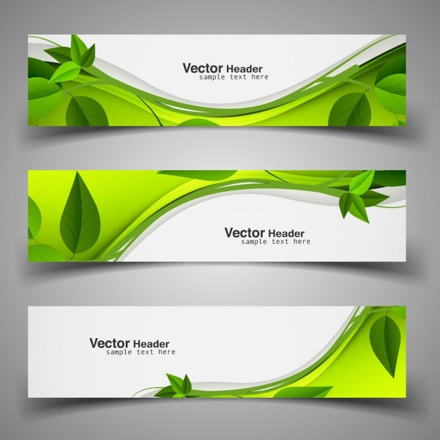 Green nature headers with leaves Free Vector