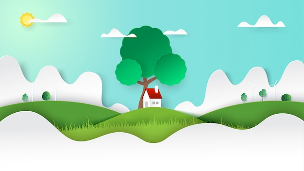 Green nature landscape and a little cottage on mountains view background template paper art style. Premium Vector