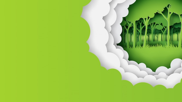 Green nature template banner paper art style Premium Vector