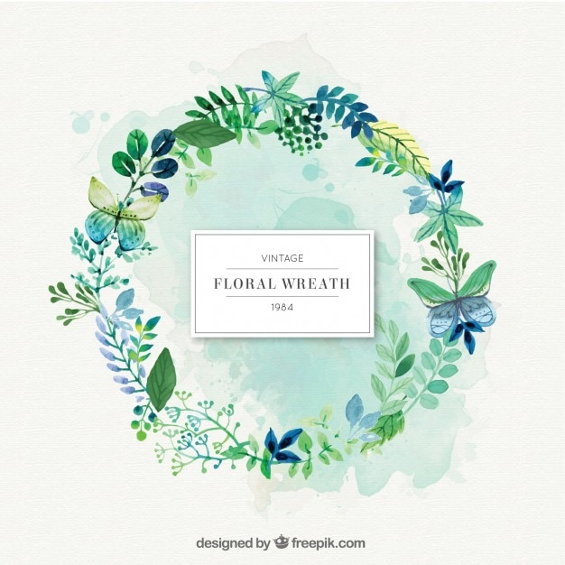 Green nature wreath with leaves  Free Vector