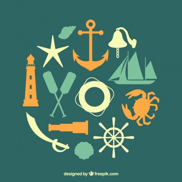Green nautical elements Premium Vector