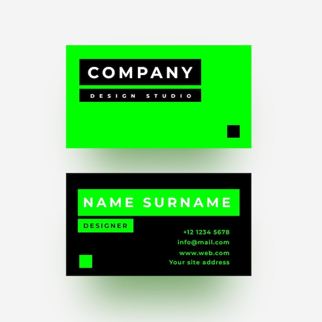 Green neon and black business card Free Vector