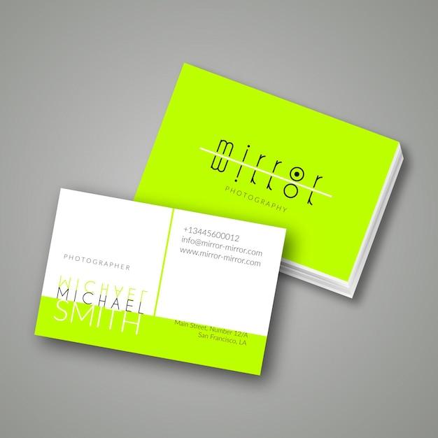 Зеленая неоновая визитка Бесплатные векторы
