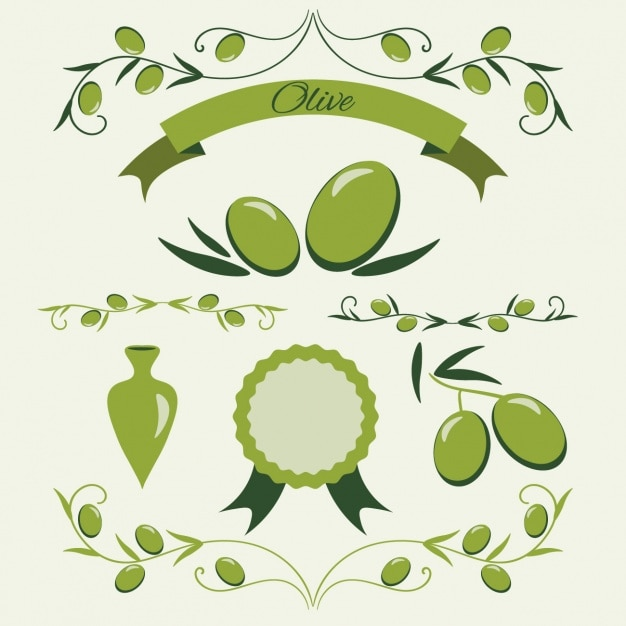 Green olive badge collection Free Vector