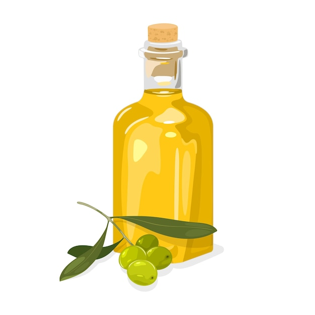 잎과 유리 코르크 병에 신선한 엑스트라 버진 노란색 기름과 녹색 올리브 가지. 프리미엄 벡터
