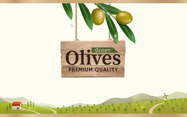 グリーンオリーブファームの背景にリアルなオリーブの枝、缶詰のオリーブのパッケージとオリーブオイルのデザインとグリーンオリーブのラベル。 Premiumベクター