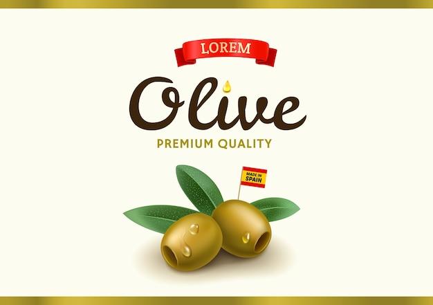 リアルなオリーブのグリーンオリーブラベル、缶詰のオリーブのパッケージとオリーブオイルのデザイン。図 Premiumベクター