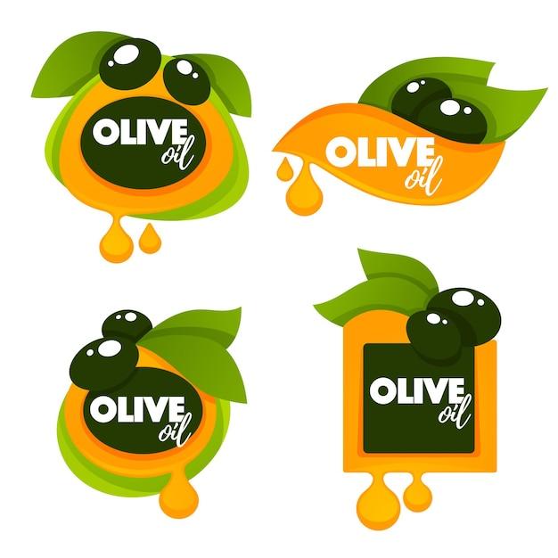 緑のオリーブの葉、レタリングの構成と油のしぶき、ロゴテンプレート、ラベル、記号のコレクション Premiumベクター