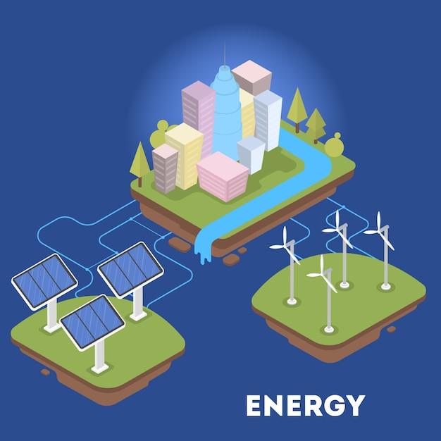 都市のグリーンまたは代替エネルギー。ソーラーパネルと風力タービン。エコフレンドリーな町。等角投影図 Premiumベクター