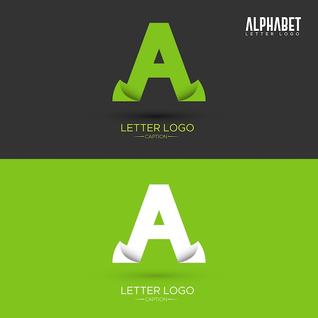 Green Origami Leaf Shaped Organic A Letter Logo Premium Vector