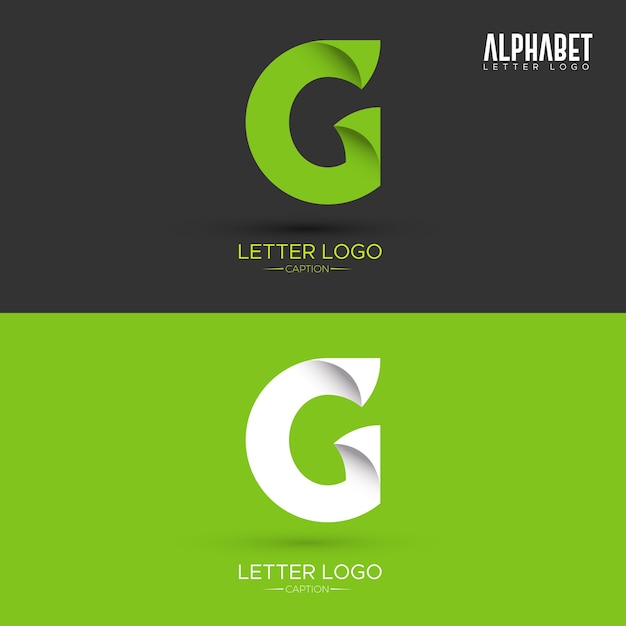 Green Origami Leaf Shaped Organic G Letter Logo Premium Vector