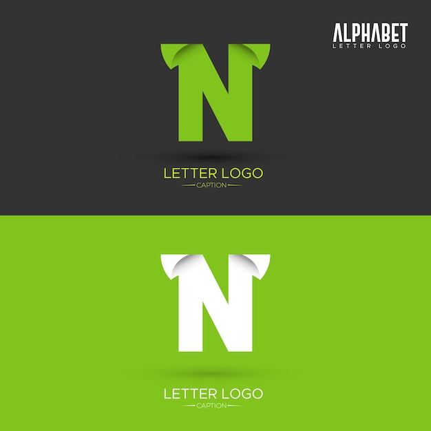 Green Origami Leaf Shaped Organic N Letter Logo Premium Vector