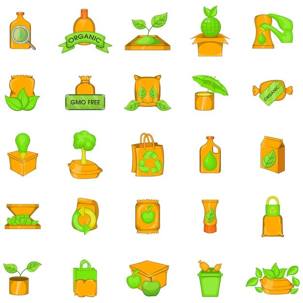 Green package icons set, cartoon style Premium Vector