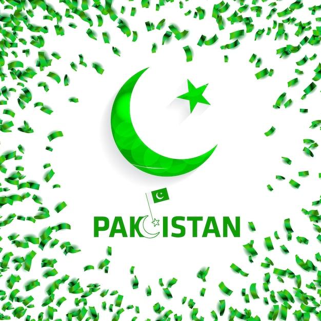 Green pakistan confetti background Free Vector