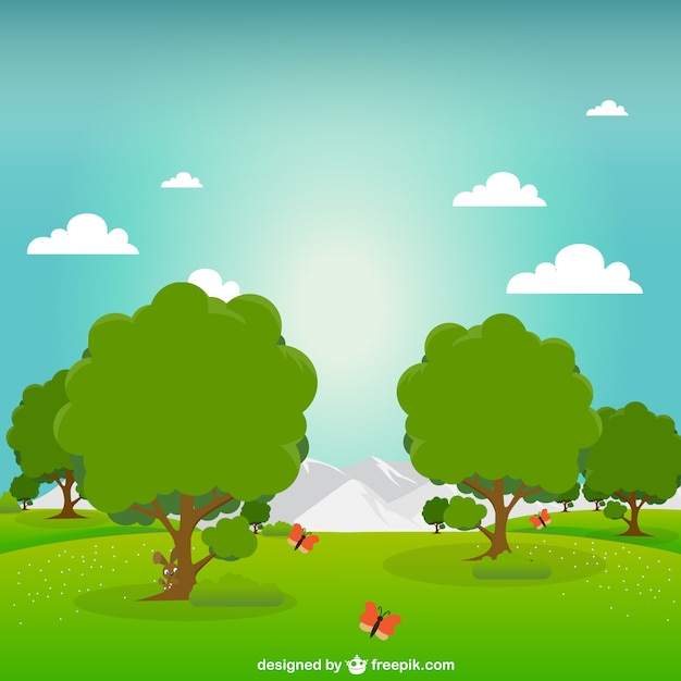 Green park at sunrise Free Vector