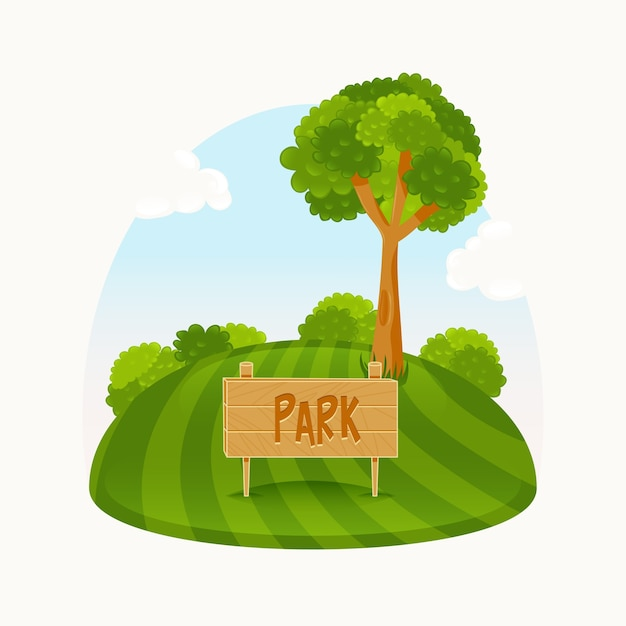 green park with a nice tree vector free download