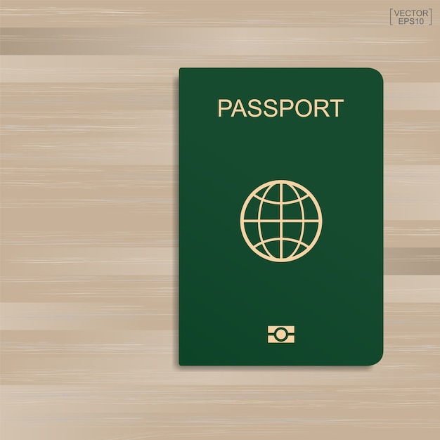 Green passport on wood pattern and texture background. Premium Vector
