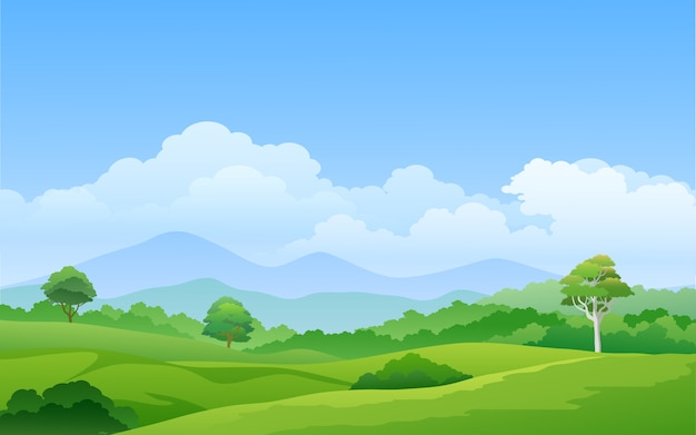 Green pasture with mountain and trees Premium Vector