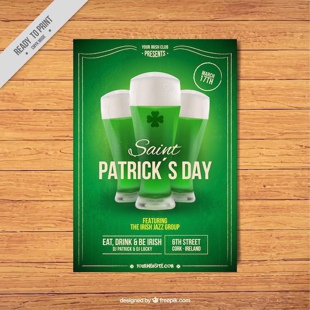 Green patrick's day leaflet Free Vector
