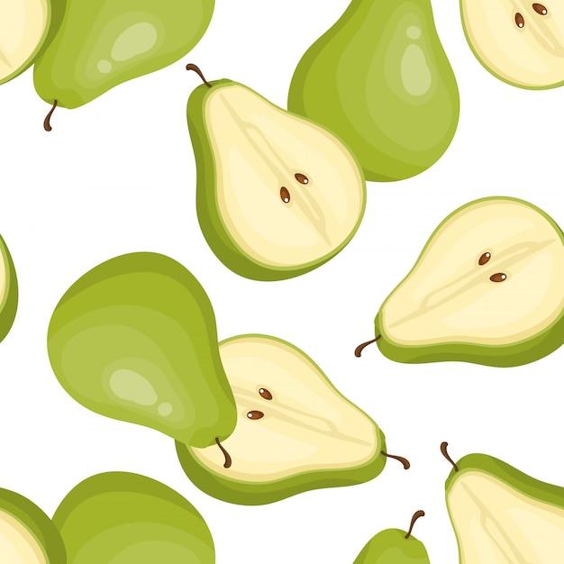 Зеленая груша бесшовные модели. Premium векторы