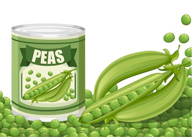 ポッド付きアルミ缶入りグリーンピース。エンドウ豆のロゴ入り缶詰。スーパーやショップ向けの商品です。白い背景のイラスト。 Premiumベクター