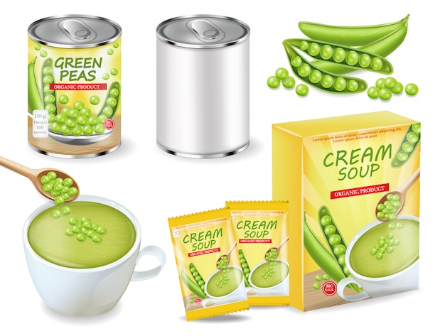 Green peas soup and can realistic collection Premium Vector