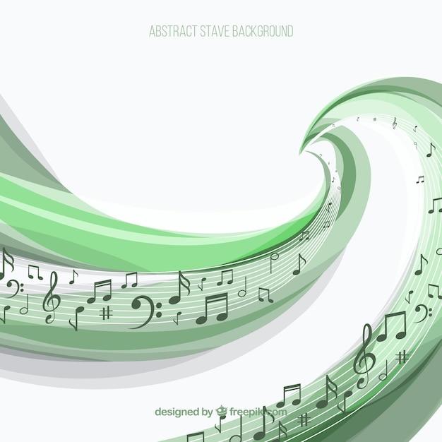 Sfondo di pentagramma verde con note musicali Vettore gratuito