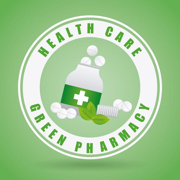 Green pharmacy design Free Vector