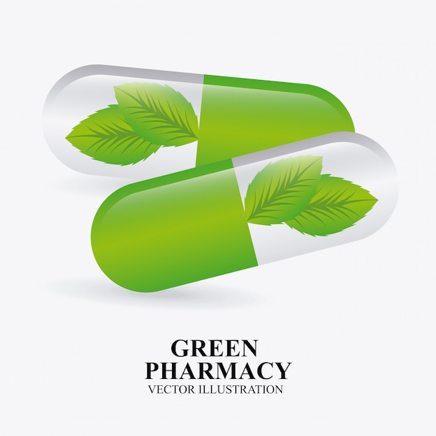 Green pharmacy design Free Vector