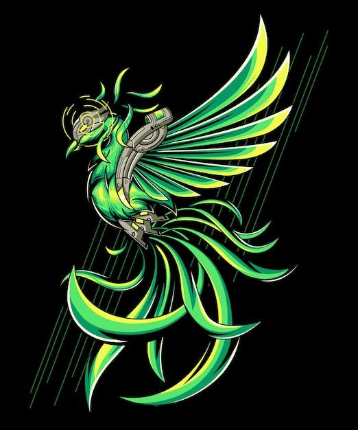 Green phoenix Premium Vector