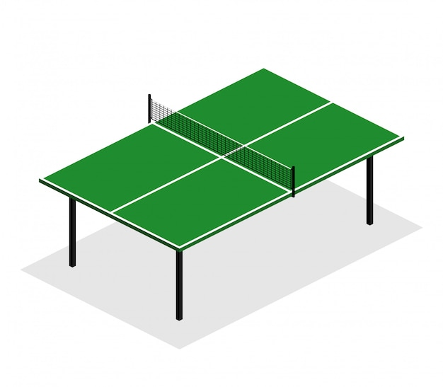 Green ping pong table is an isometric  illustration Premium Vector