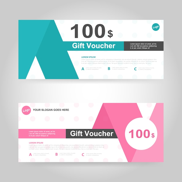 green and pink gift voucher template vector free download