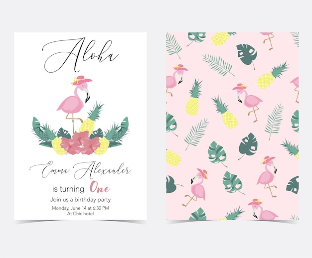 Green pink invitation card with palm, pineapple, hibiscus, flamingo, banana leaf and flower Premium Vector