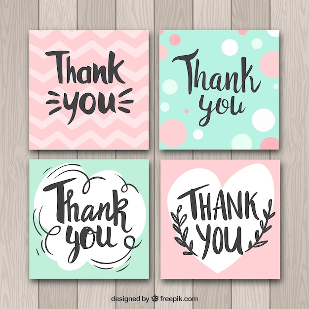 Green and pink thank you cards collection Free Vector