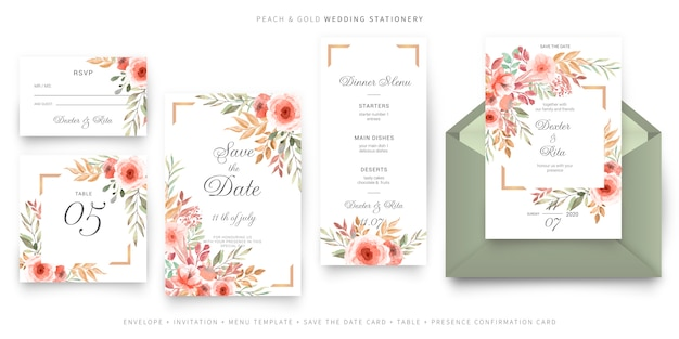 Green and pink wedding invitation card template, stationery set Free Vector