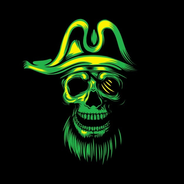 Green pirate skull background Free Vector